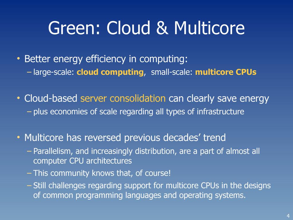 Green: Cloud & Multicore • Better energy effici...