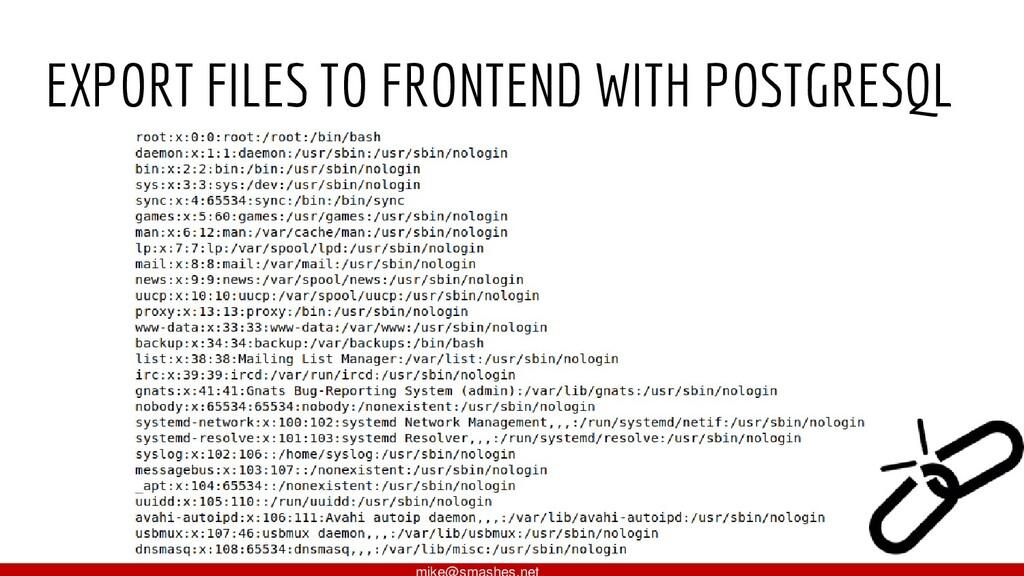 EXPORT FILES TO FRONTEND WITH POSTGRESQL