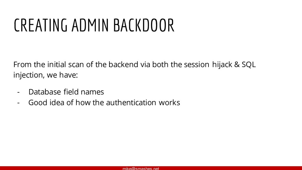 CREATING ADMIN BACKDOOR From the initial scan o...