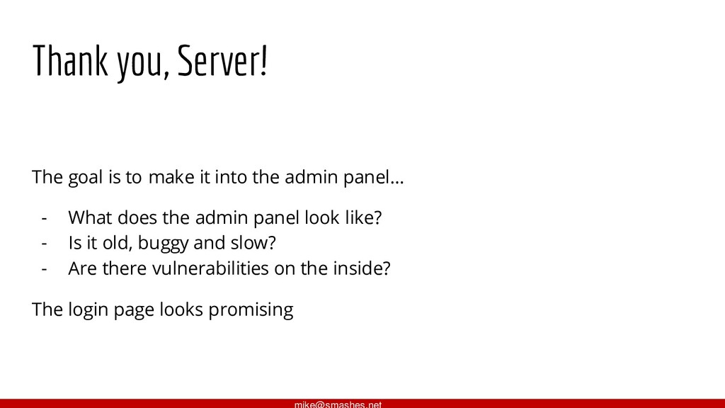 Thank you, Server! The goal is to make it into ...