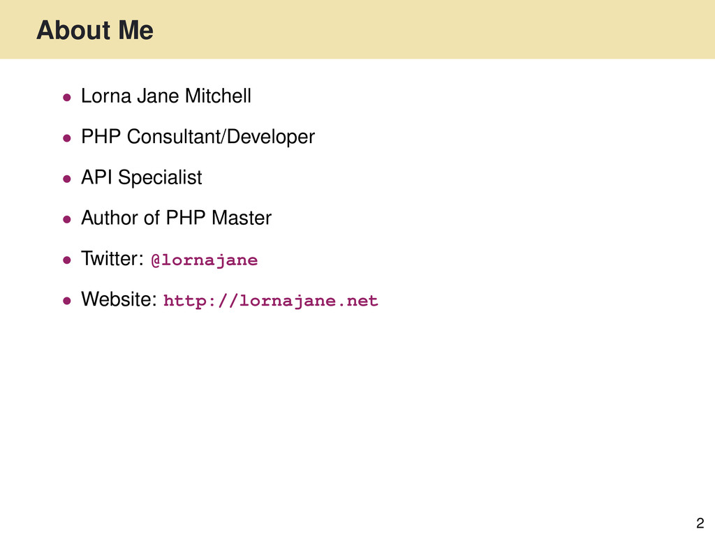 About Me 2 • Lorna Jane Mitchell • PHP Consulta...