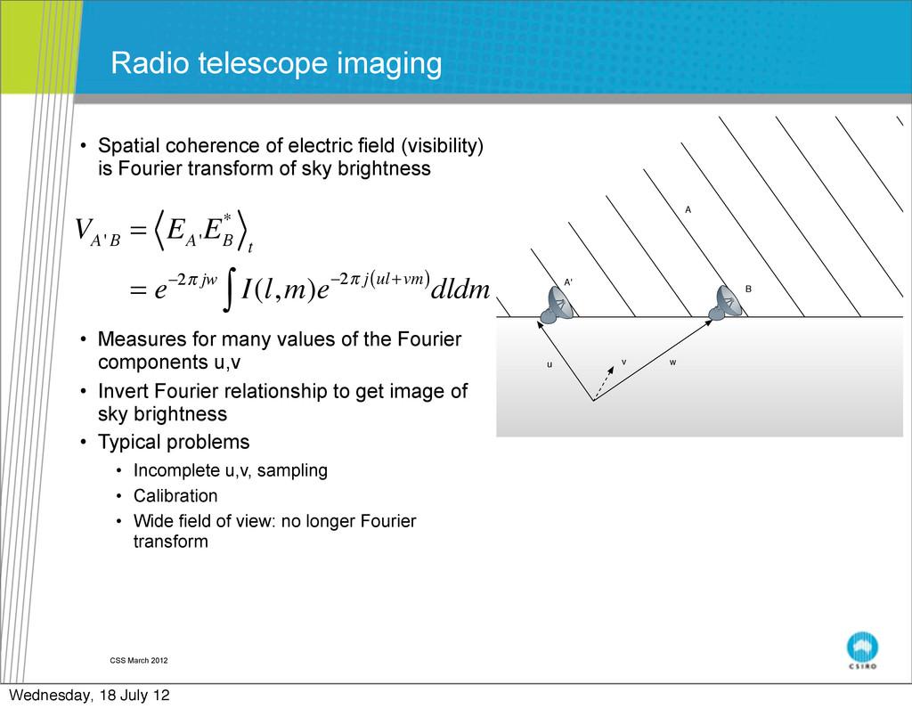 CSS March 2012 Radio telescope imaging • Spatia...