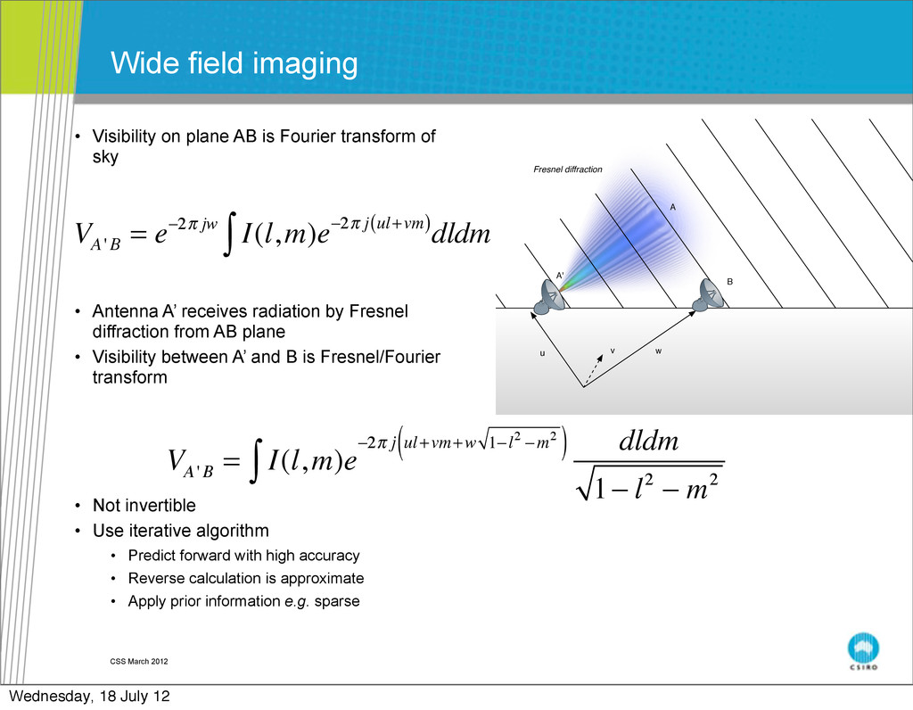 • Visibility on plane AB is Fourier transform o...