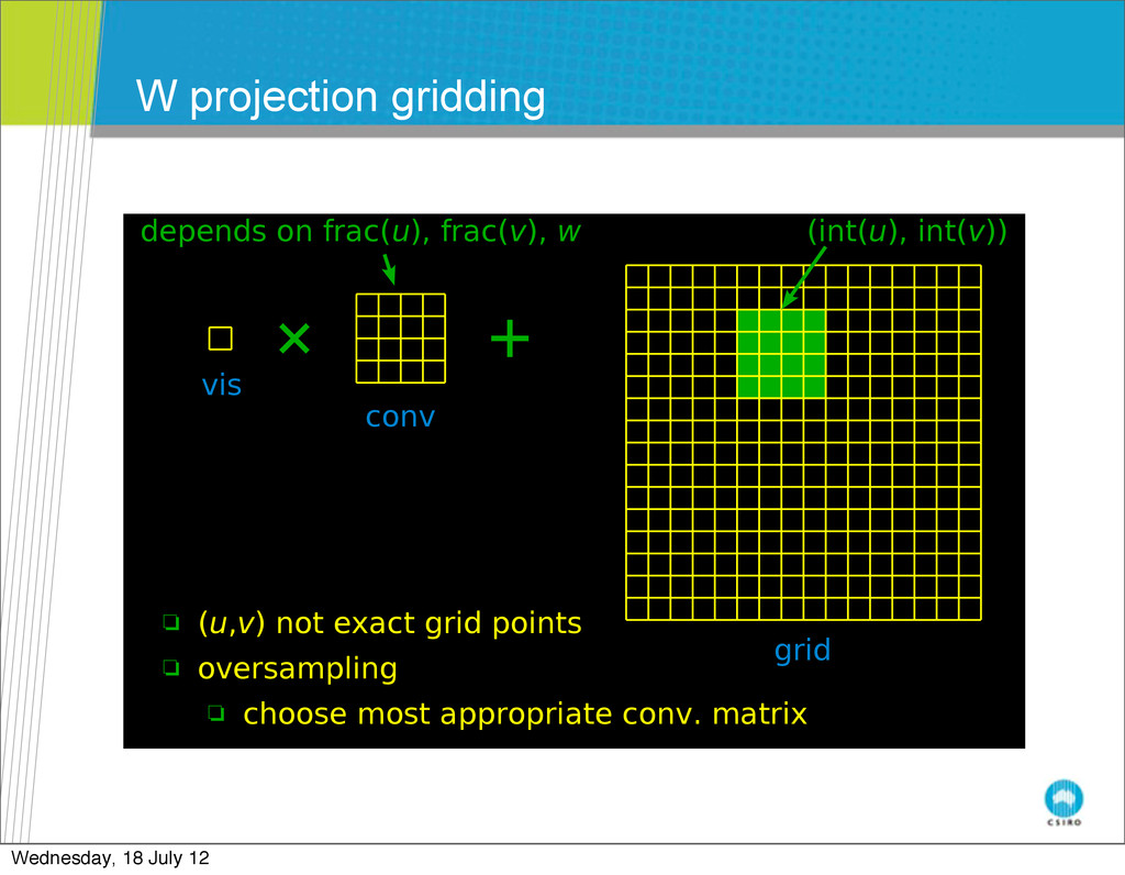 W projection gridding July 25-29, 2011 July 25-...