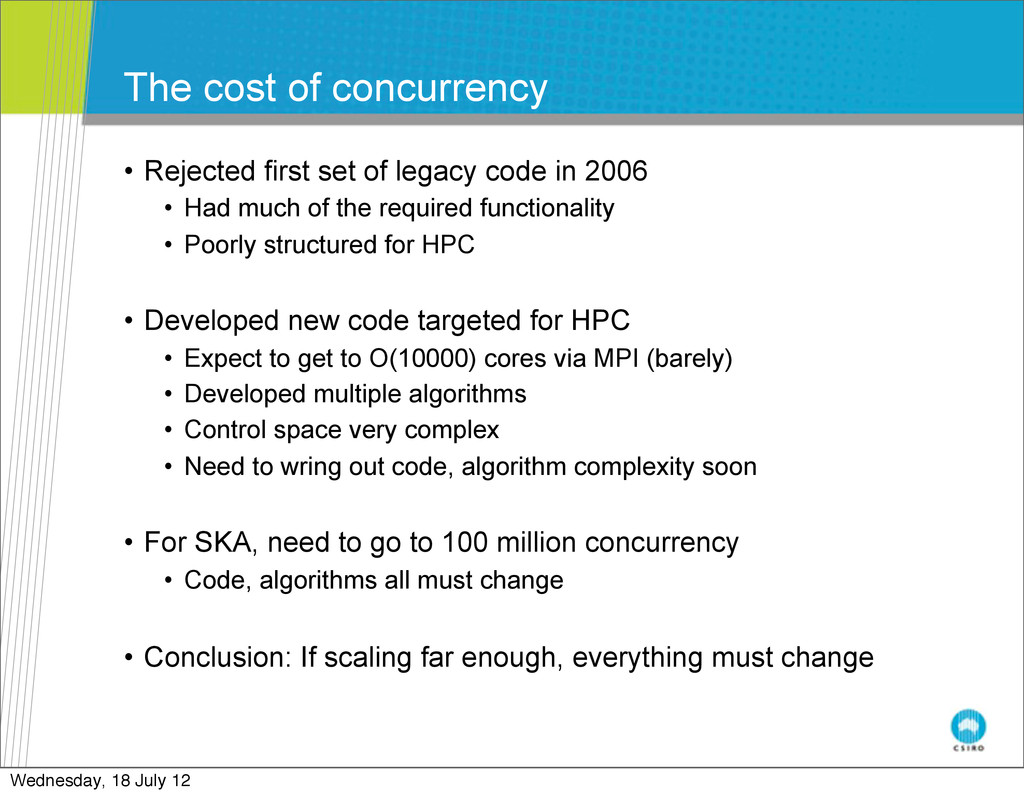 The cost of concurrency • Rejected first set of...
