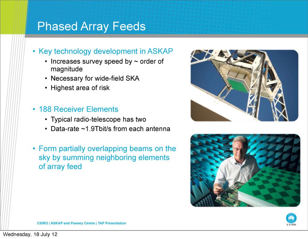 Phased Array Feeds • Key technology development...