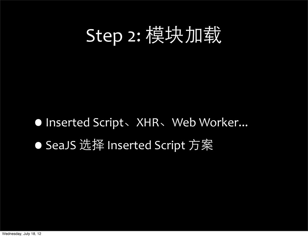 Step 2: 模块加载 •Inserted Script、XHR、Web...