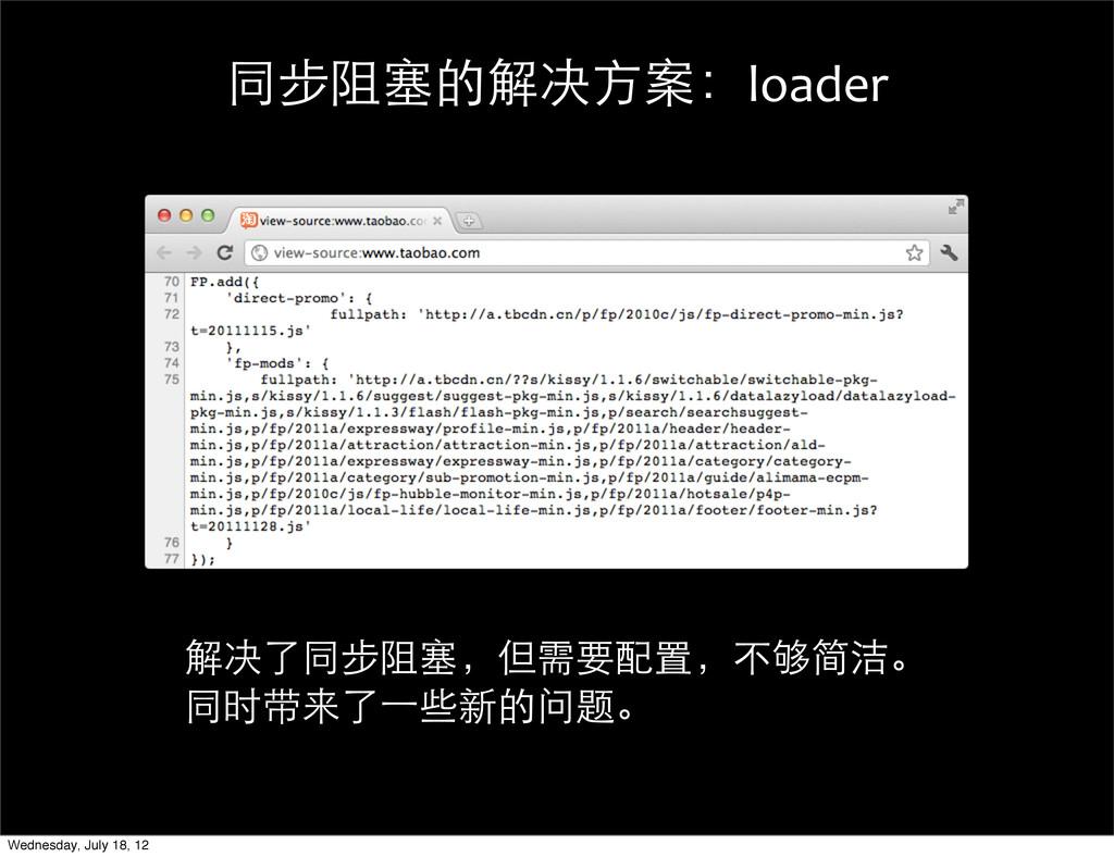 同步阻塞的解决方案:loader 解决了同步阻塞,但需要配置,不够简洁。 同时带来了⼀一些新的...