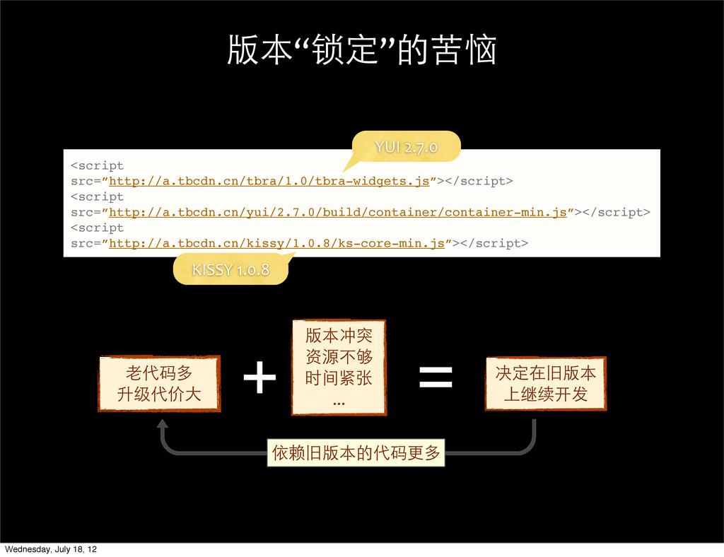 """版本""""锁定""""的苦恼 <script src=""""http://a.tbcdn.cn/tbra/1..."""
