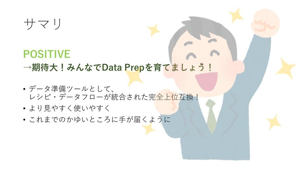 サマリ POSITIVE →期待⼤!みんなでData Prepを育てましょう! • データ準備...