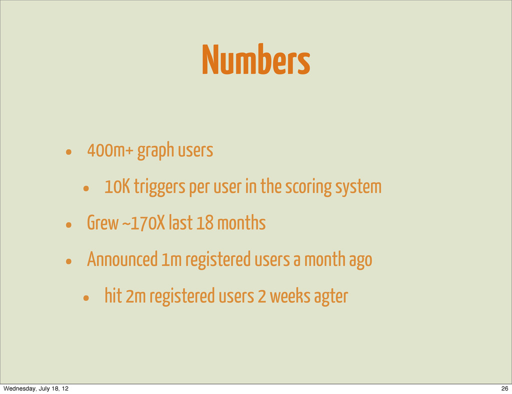 Numbers • 400m+ graph users • 10K triggers per ...