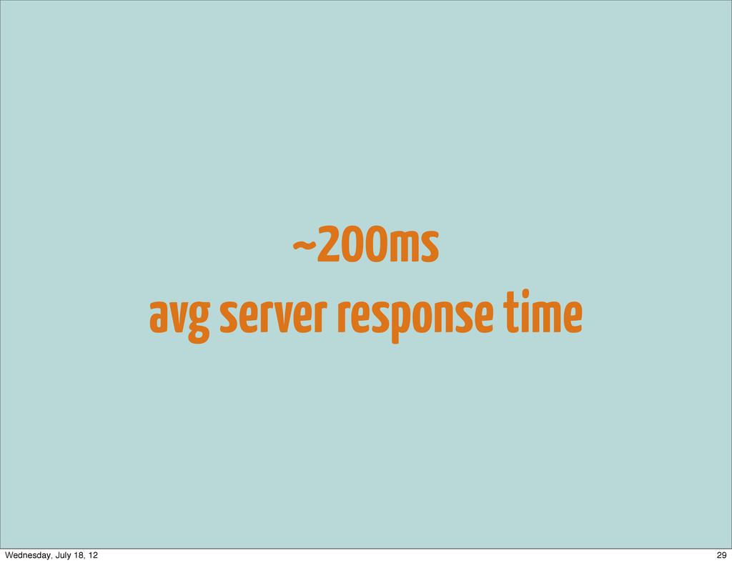 ~200ms avg server response time 29 Wednesday, J...