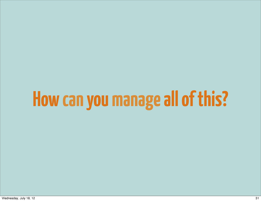 How can you manage all of this? 31 Wednesday, J...