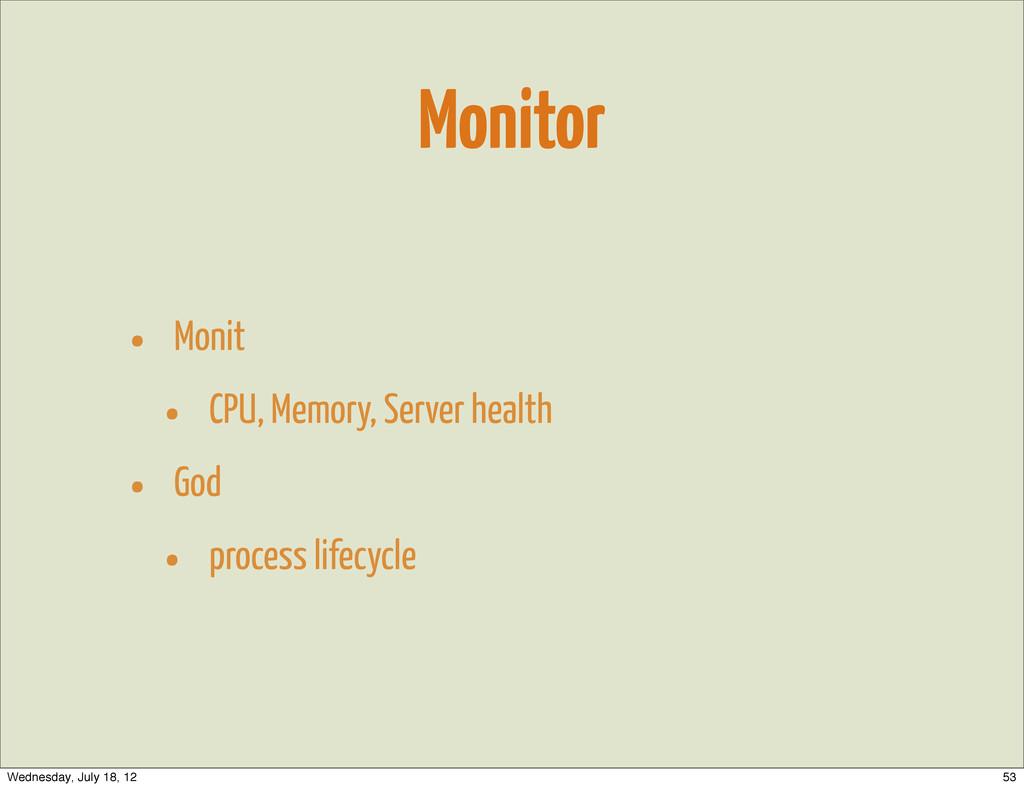 Monitor • Monit • CPU, Memory, Server health • ...