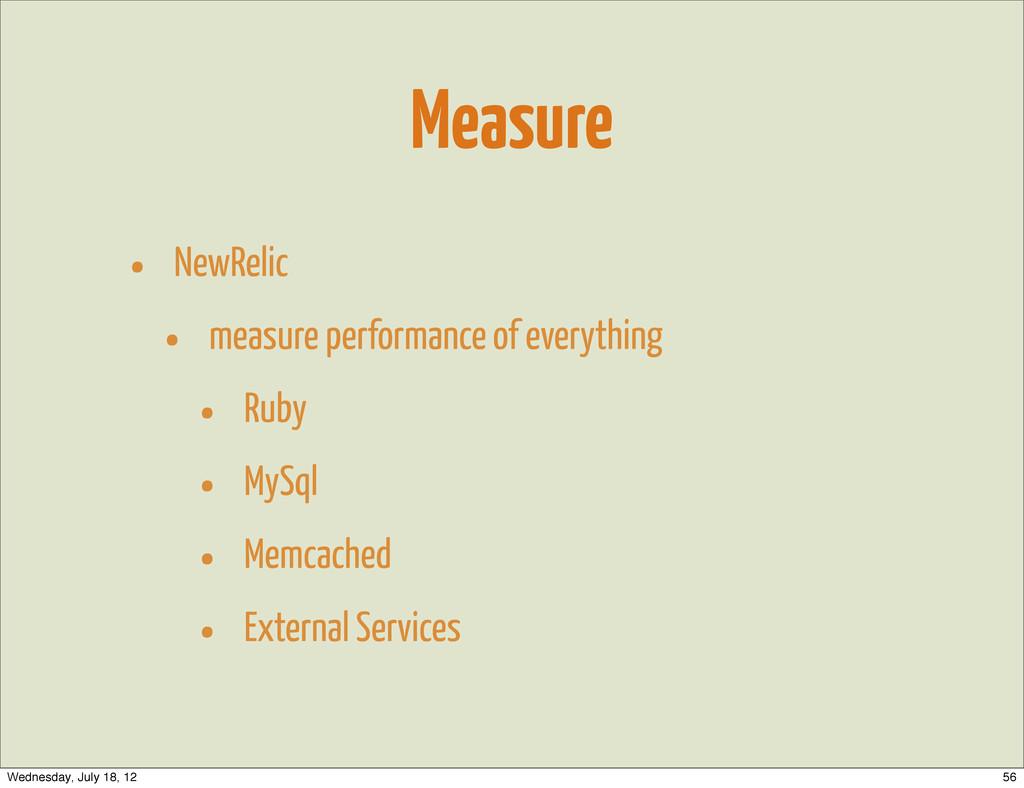 Measure • NewRelic • measure performance of eve...