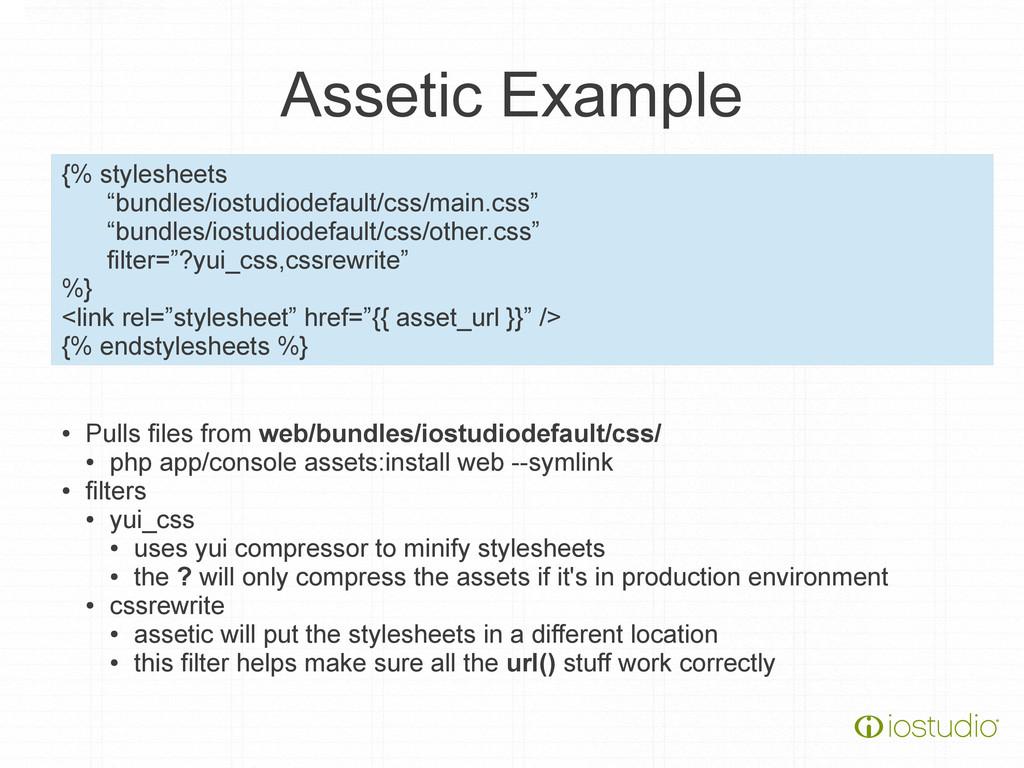 """Assetic Example {% stylesheets """"bundles/iostudi..."""