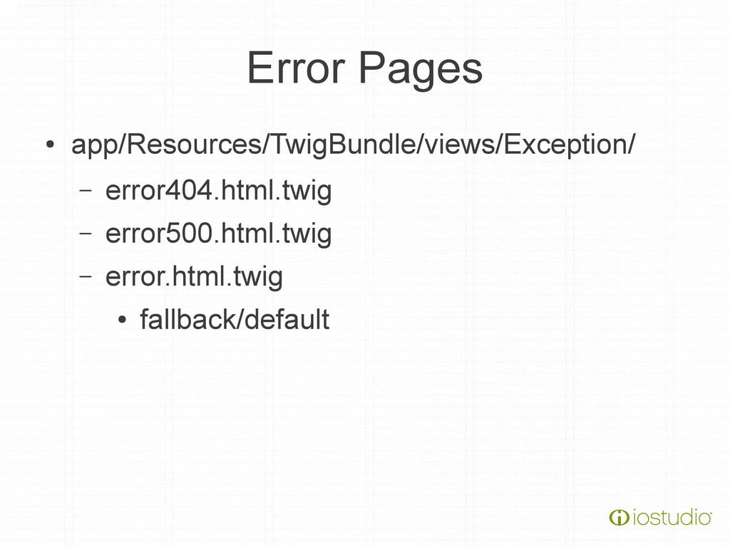 Error Pages ● app/Resources/TwigBundle/views/Ex...