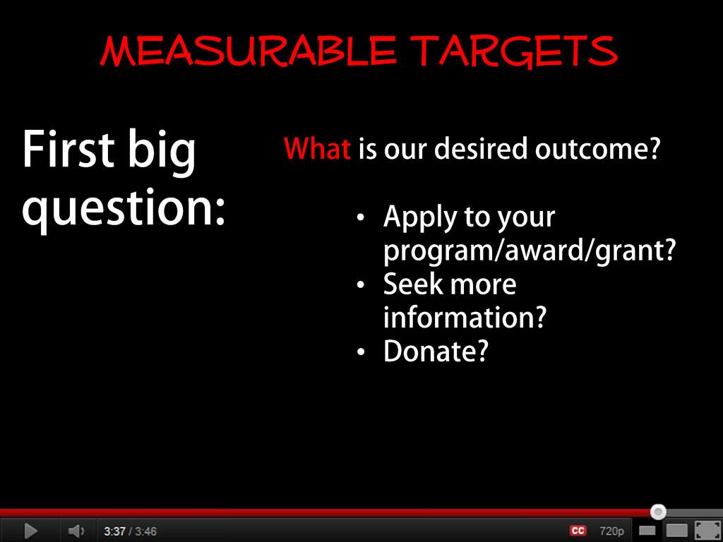 • • • MEASURABLE Targets