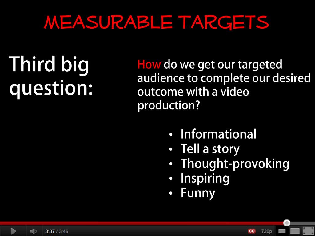 • • • • • Measurable Targets