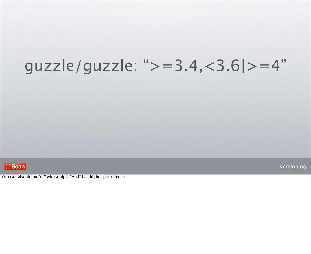 """Versioning guzzle/guzzle: """">=3.4,<3.6 >=4"""" You ..."""