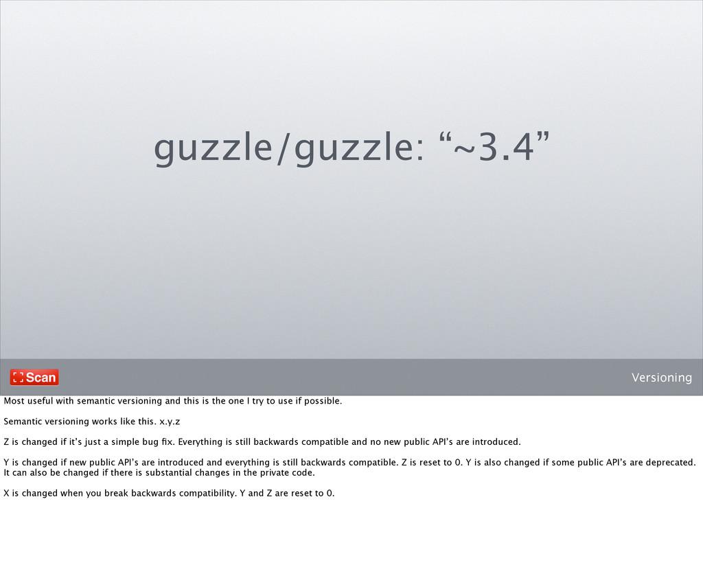 "Versioning guzzle/guzzle: ""~3.4"" Most useful wi..."
