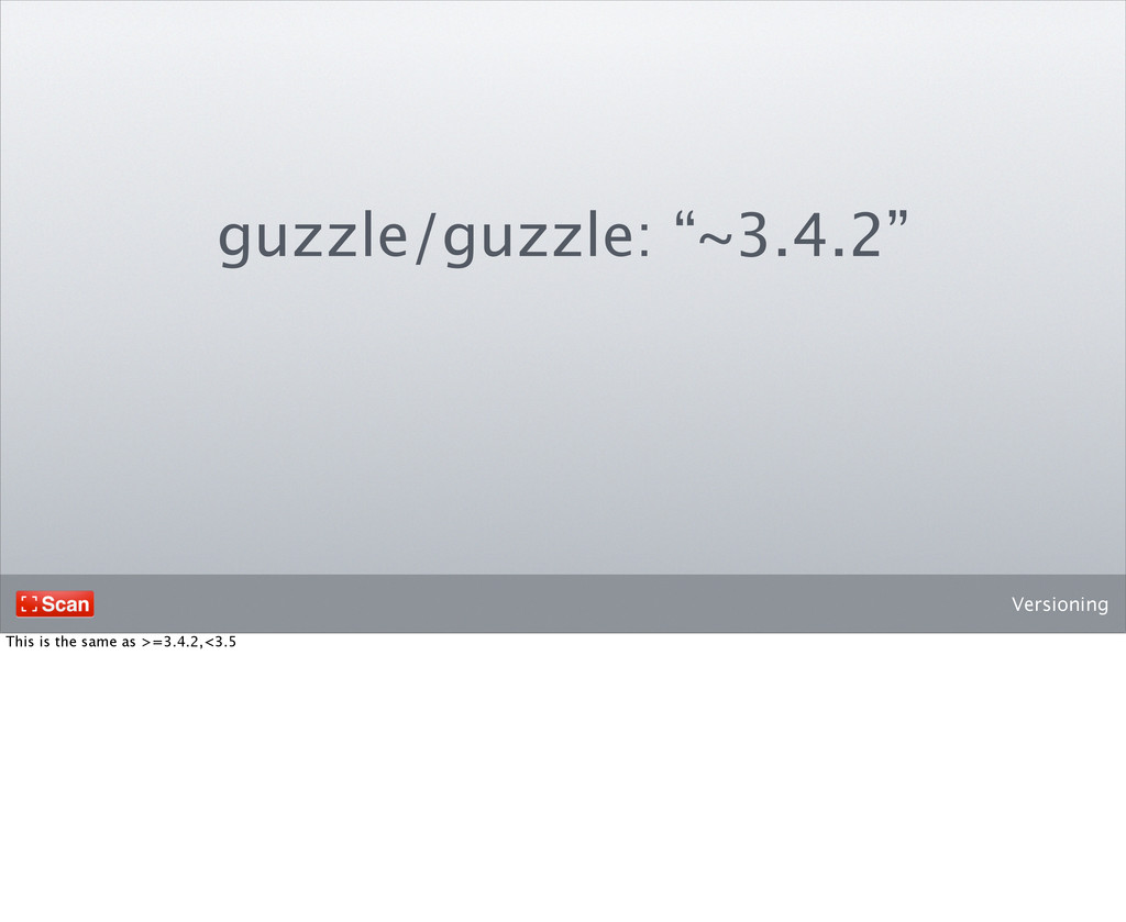 """Versioning guzzle/guzzle: """"~3.4.2"""" This is the ..."""