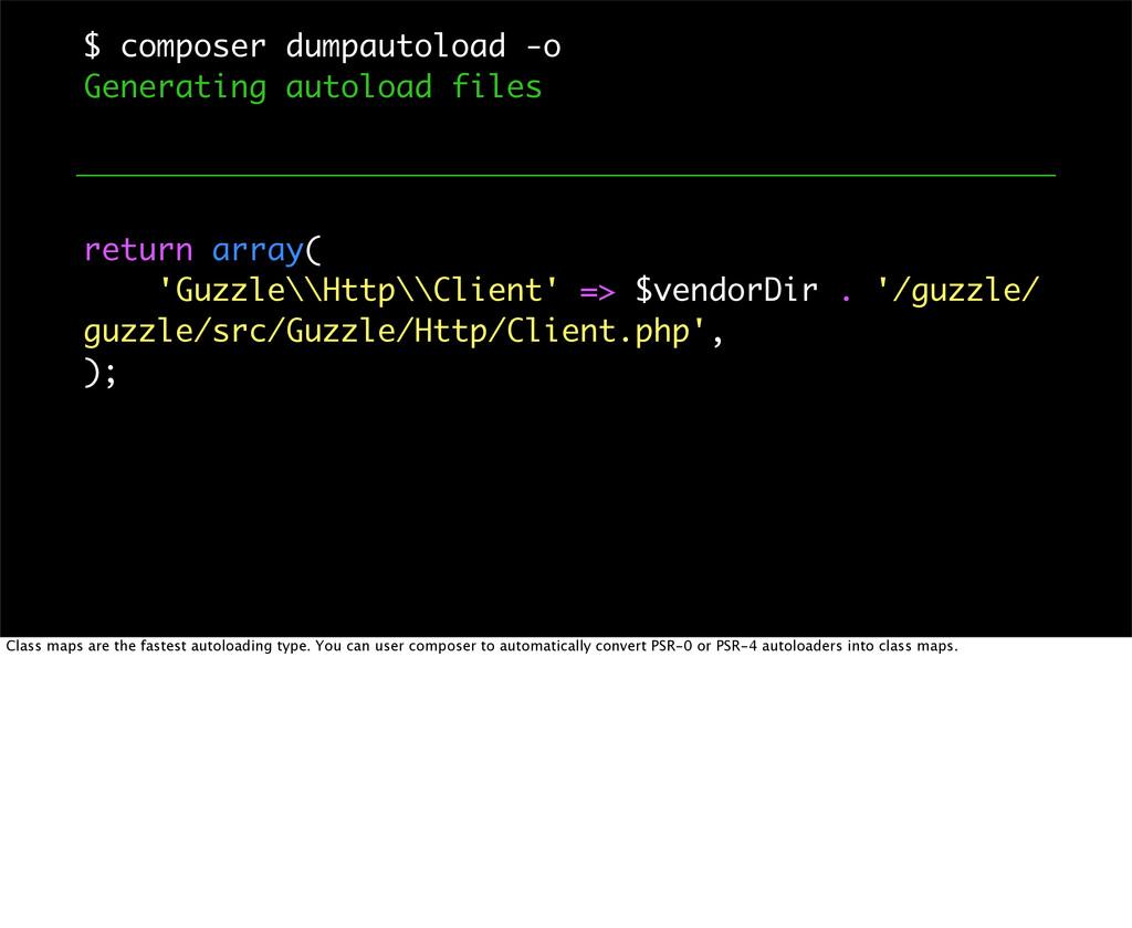 $ composer dumpautoload -o Generating autoload ...