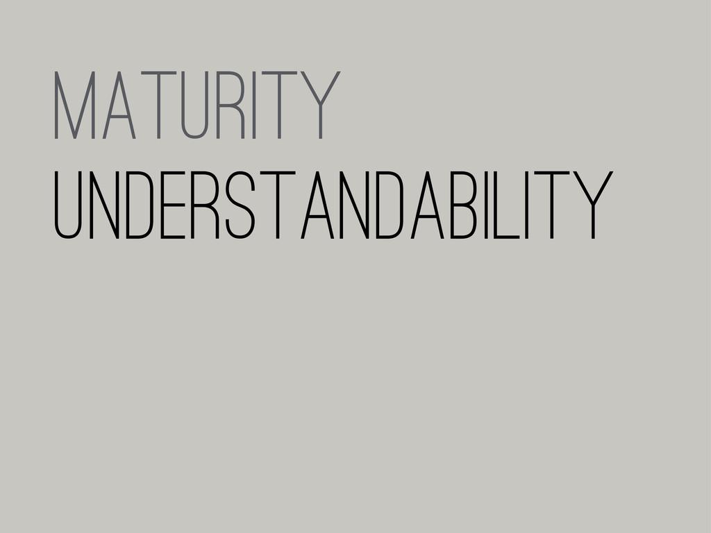 MATURITY UNDERSTANDABILITY