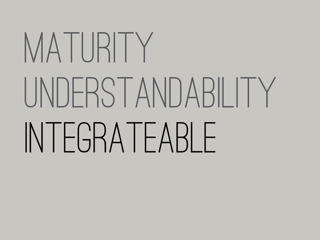 MATURITY UNDERSTANDABILITY INTEGRATEABLE