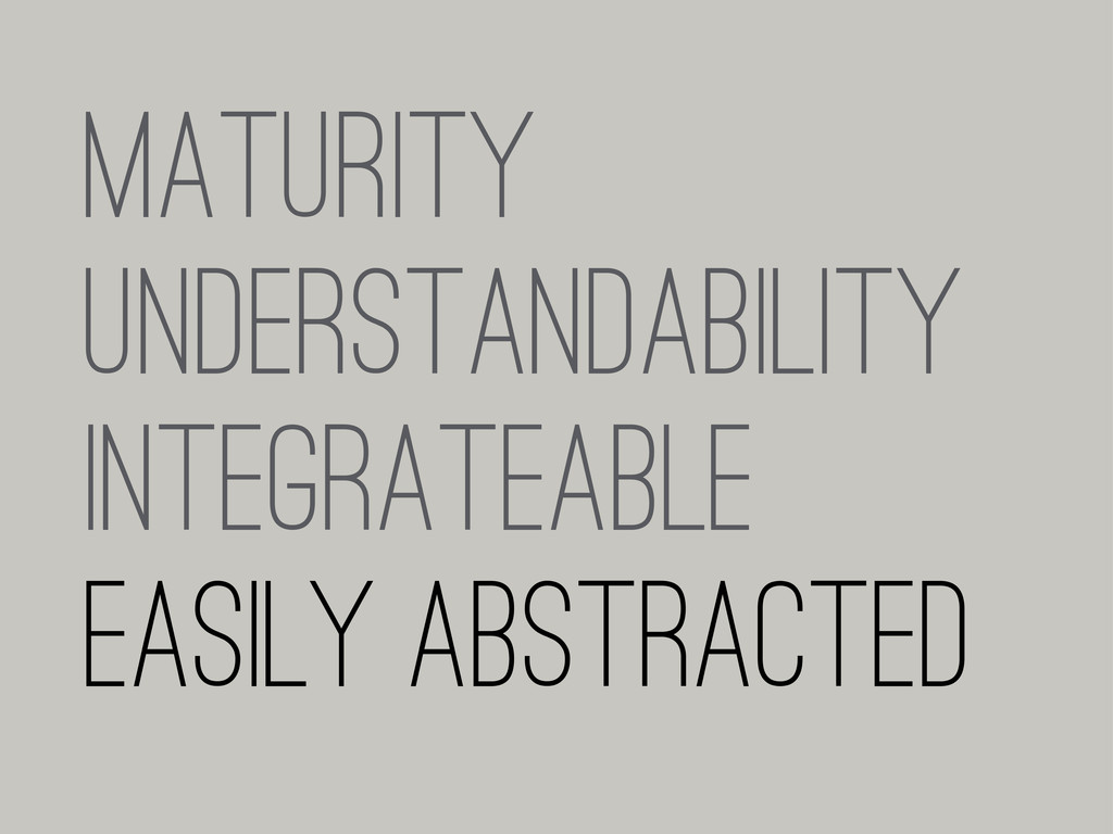 MATURITY UNDERSTANDABILITY INTEGRATEABLE EASILY...