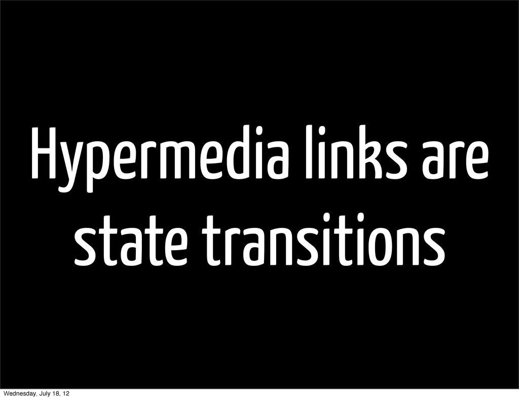 Hypermedia links are state transitions Wednesda...