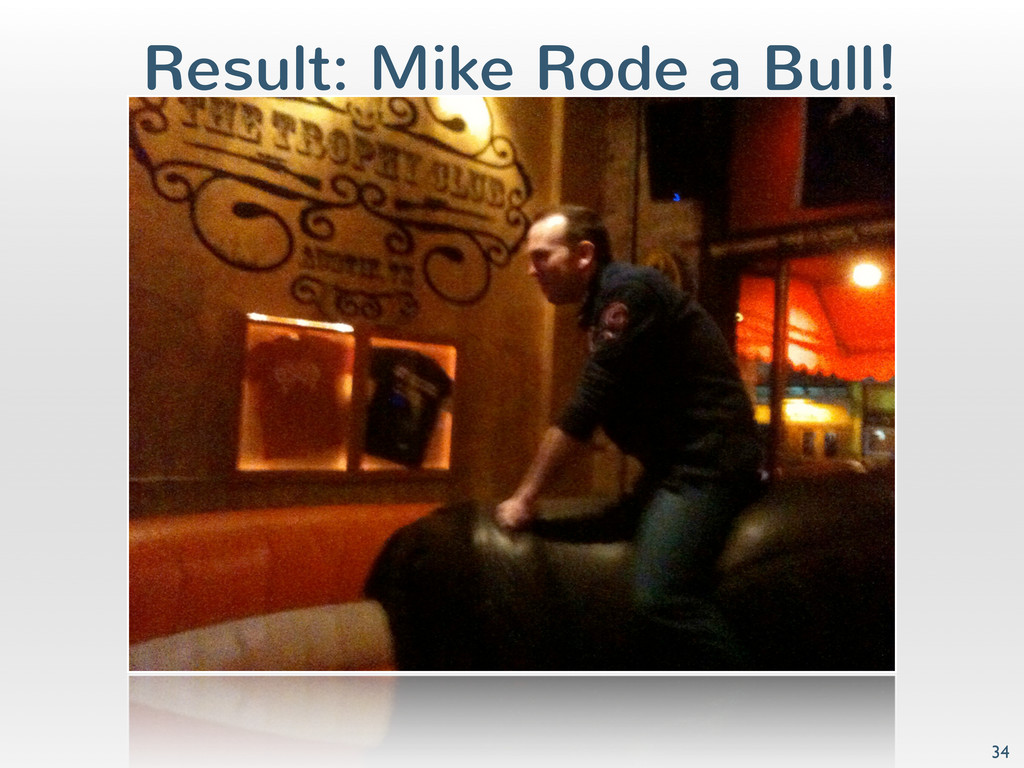 Result: Mike Rode a Bull! 34