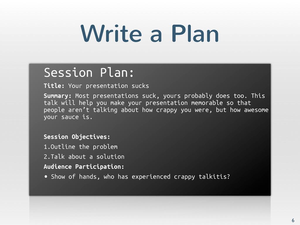 Write a Plan Session Plan: Title: Your presenta...