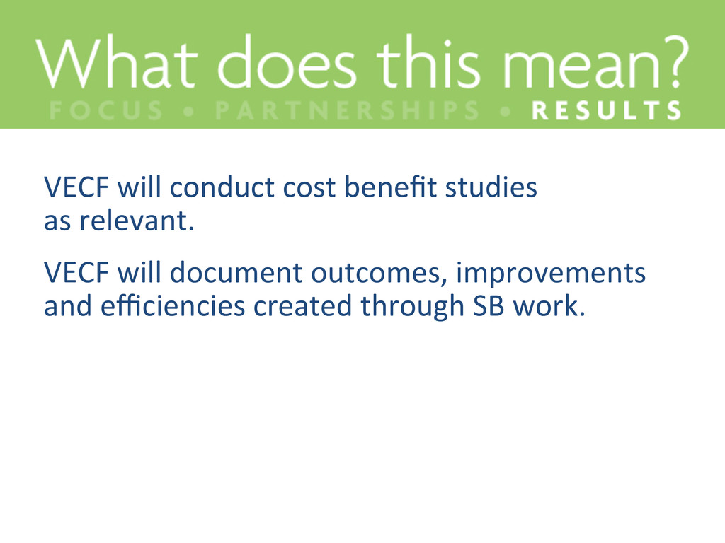 VECF will conduct cost benefit st...