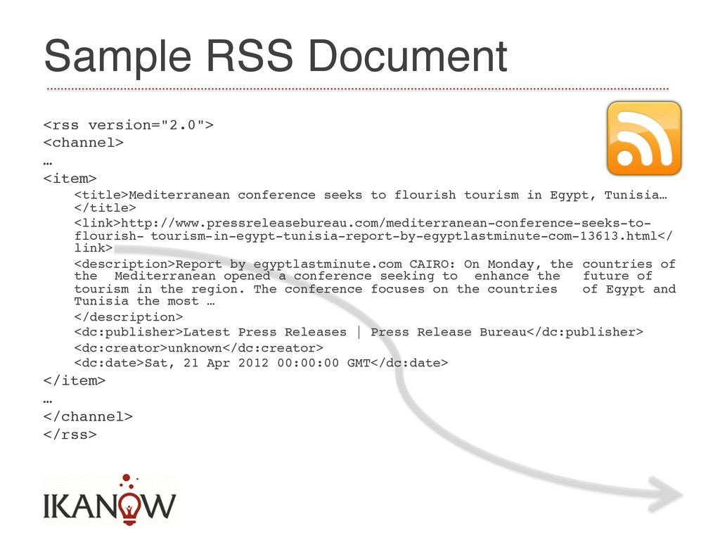 """Sample RSS Document! <rss version=""""2.0"""">! <chan..."""
