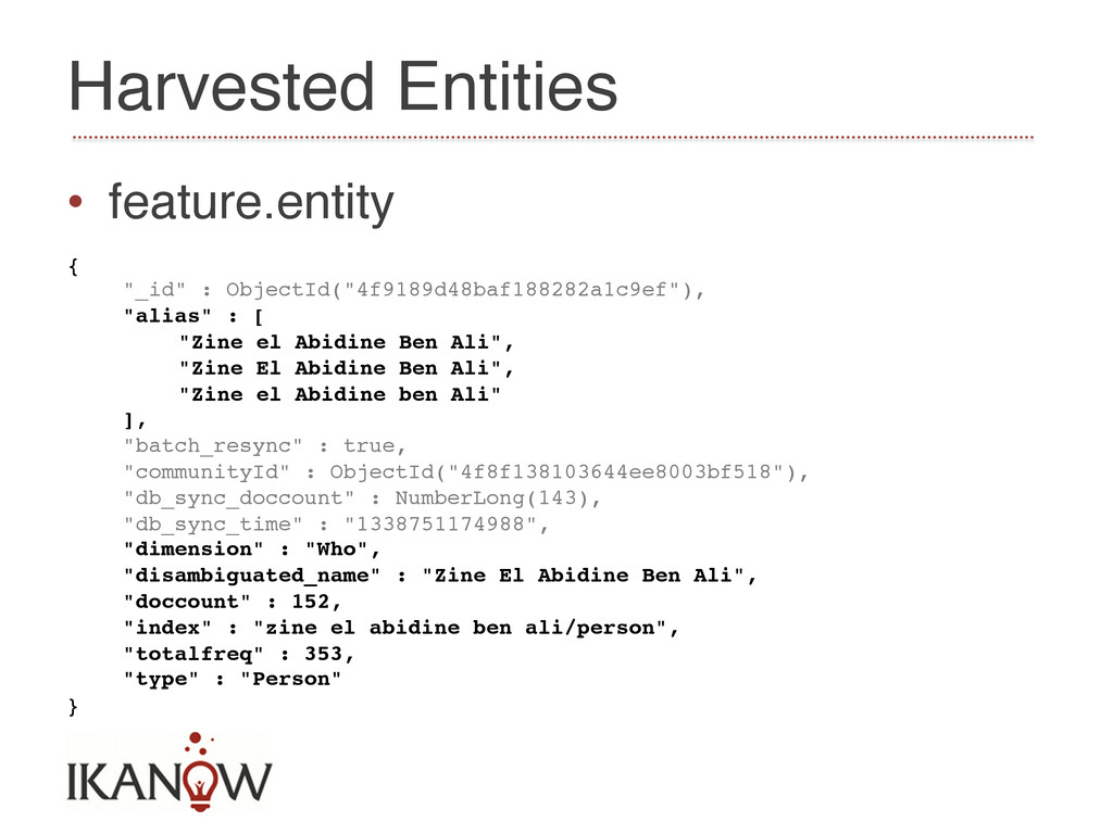 """Harvested Entities! • feature.entity! {! """"_id""""..."""
