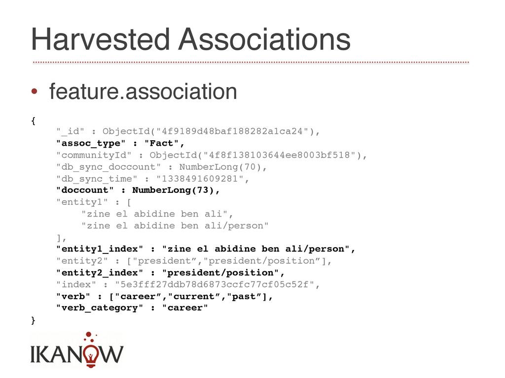 Harvested Associations! • feature.association!...