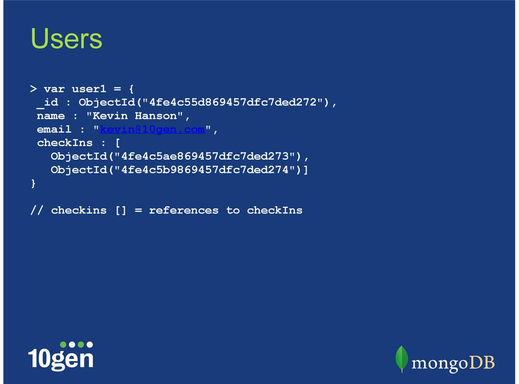 """> var user1 = { _id : ObjectId(""""4fe4c55d869457d..."""