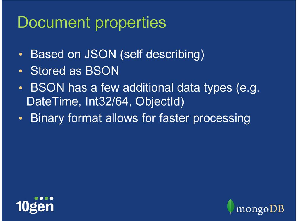 Document properties Based on JSON (self describ...