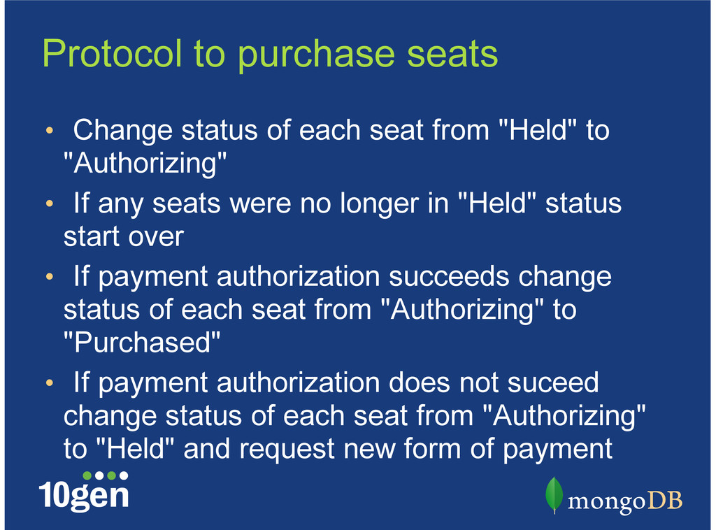 Protocol to purchase seats Change status of eac...
