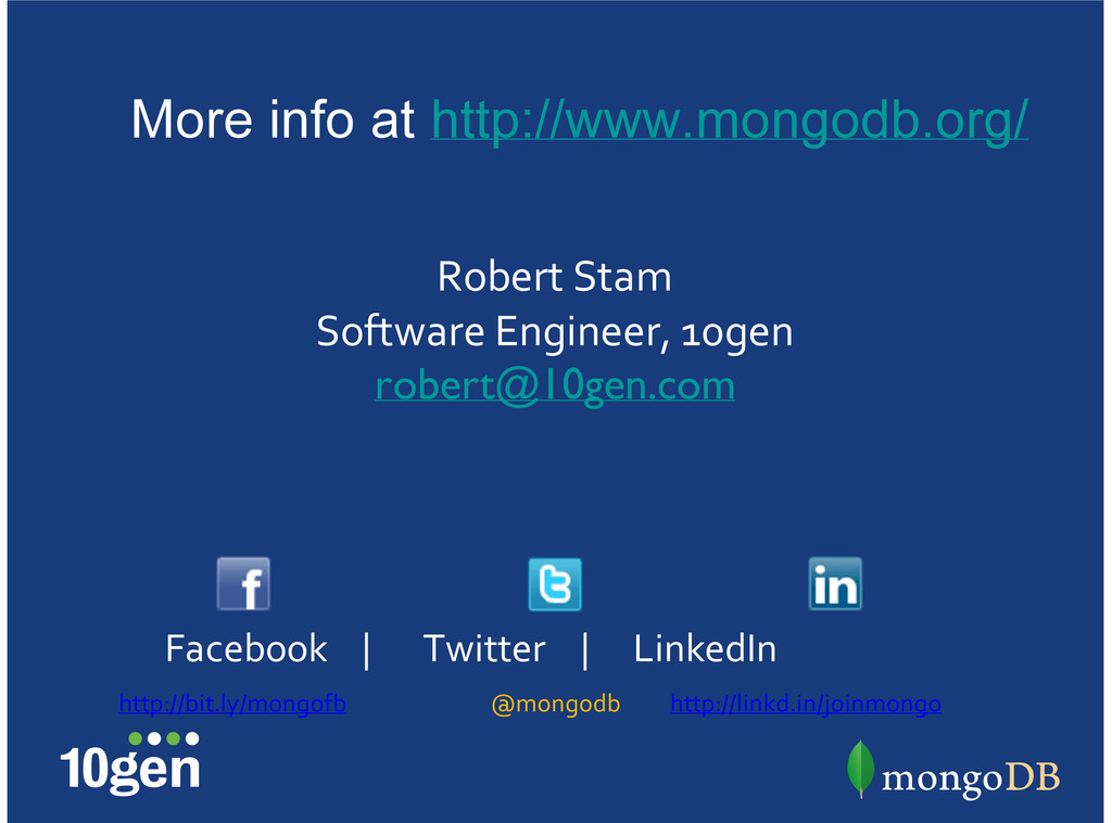 @mongodb http://bit.ly/mongofb Facebook7777 777...