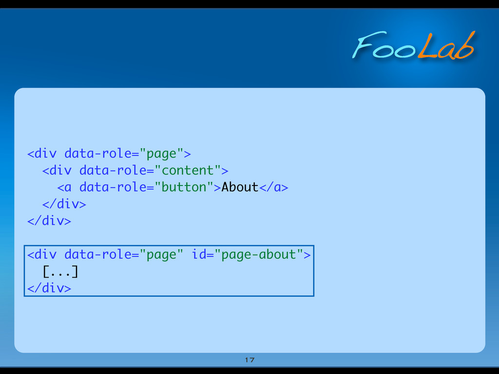 """FooLab <div data-role=""""page""""> <div data-role=""""c..."""
