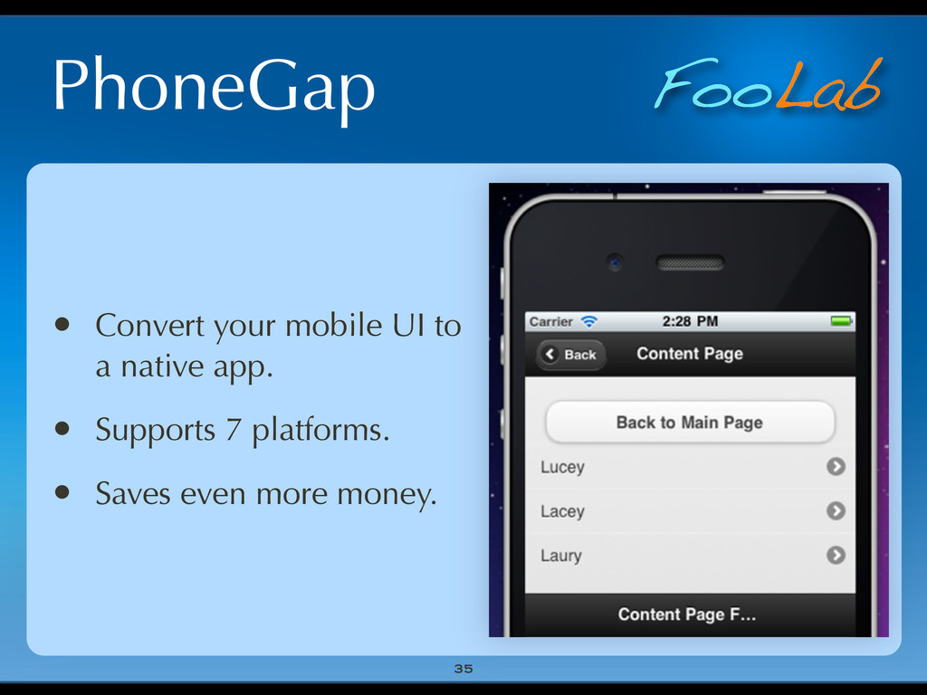 FooLab PhoneGap 35 • Convert your mobile UI to ...