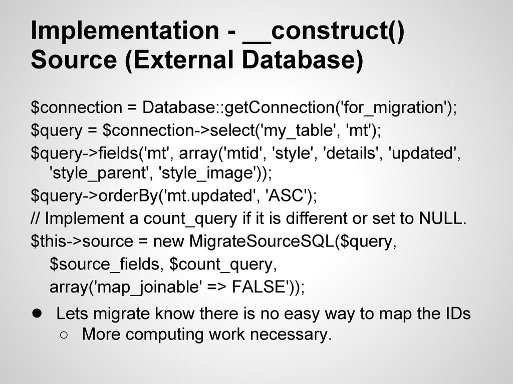 Implementation - __construct() Source (External...