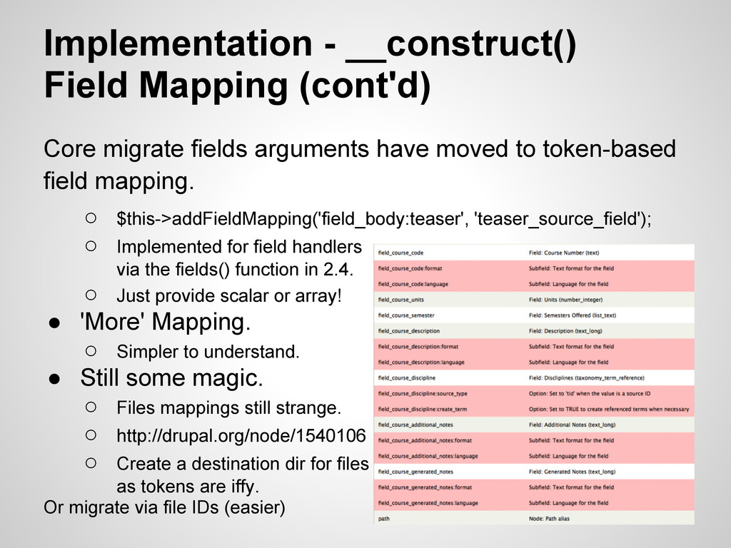 Implementation - __construct() Field Mapping (c...