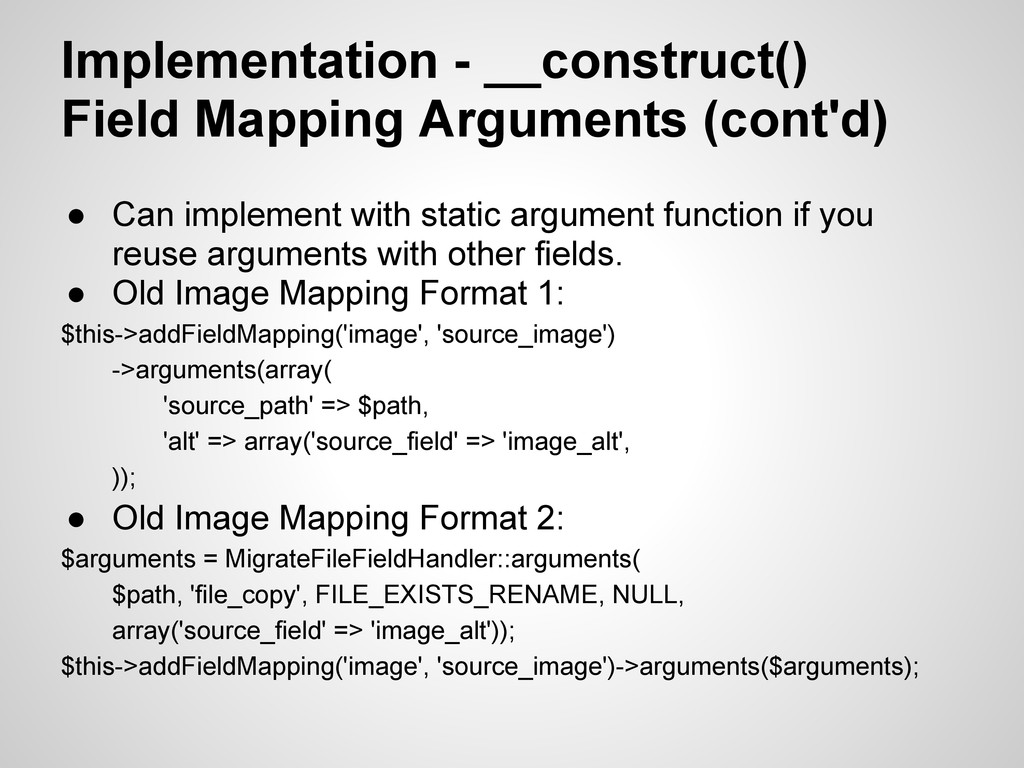 Implementation - __construct() Field Mapping Ar...