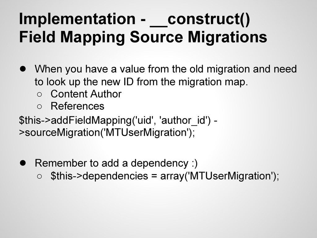 Implementation - __construct() Field Mapping So...
