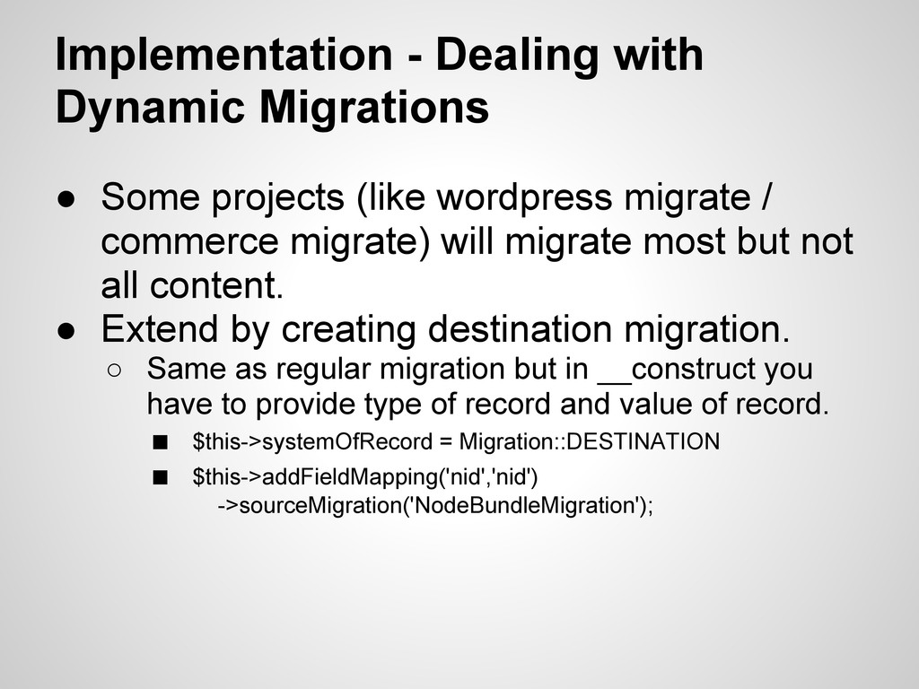 Implementation - Dealing with Dynamic Migration...