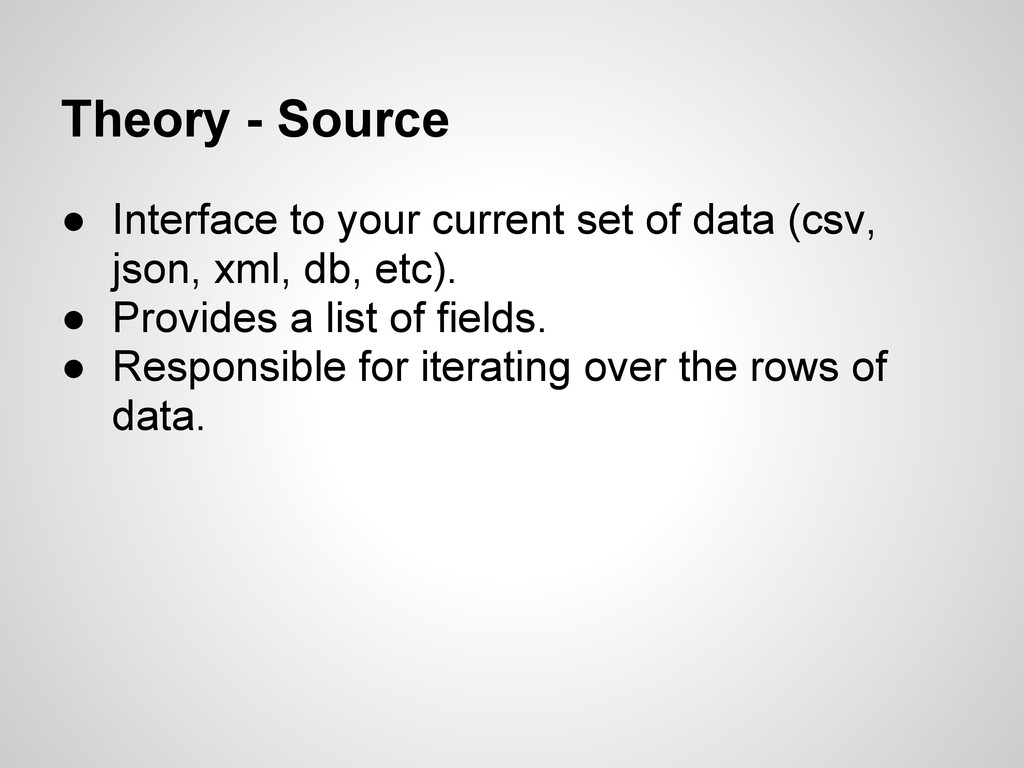 Theory - Source ● Interface to your current set...