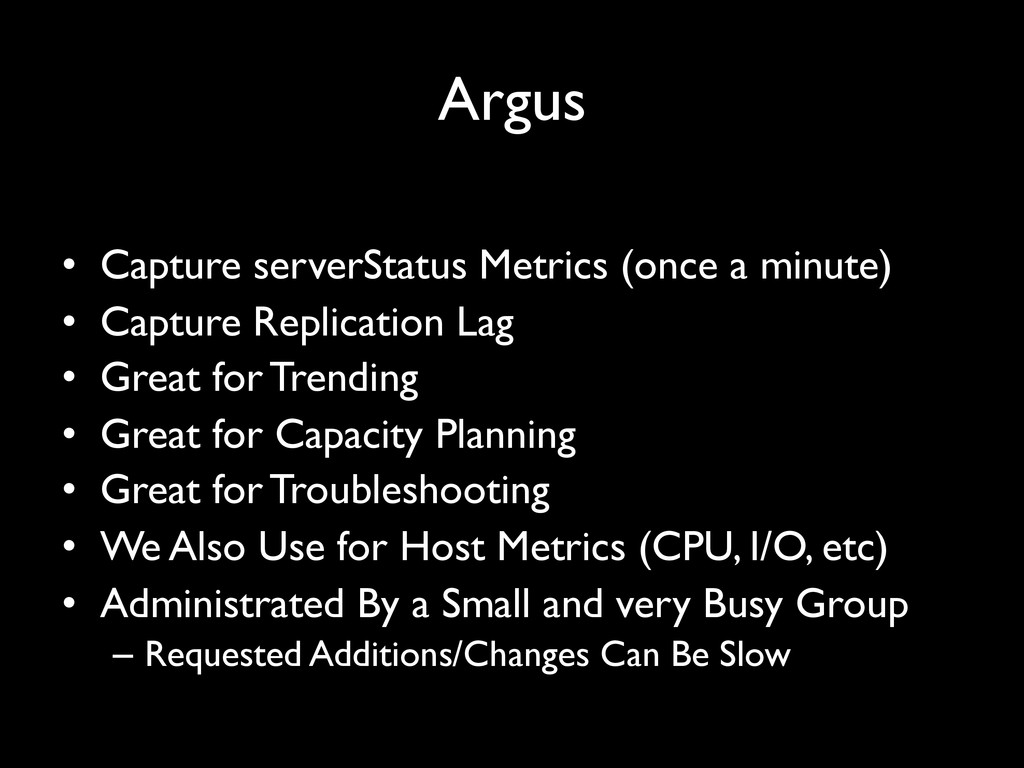 "Argus"" • Capture serverStatus Metrics (once a ..."